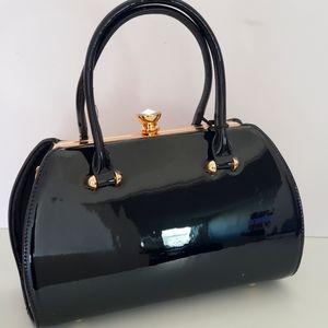 La Terre Black Patent Leather Handbag